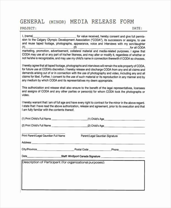 Media Release form Template Fresh Release form Templates