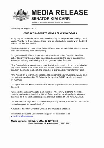 Media Release form Template Inspirational Media Release Template Minister Carr National