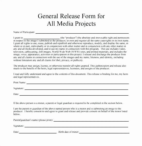 Media Release form Template Luxury Media Waiver Template Minor Media Release form Template