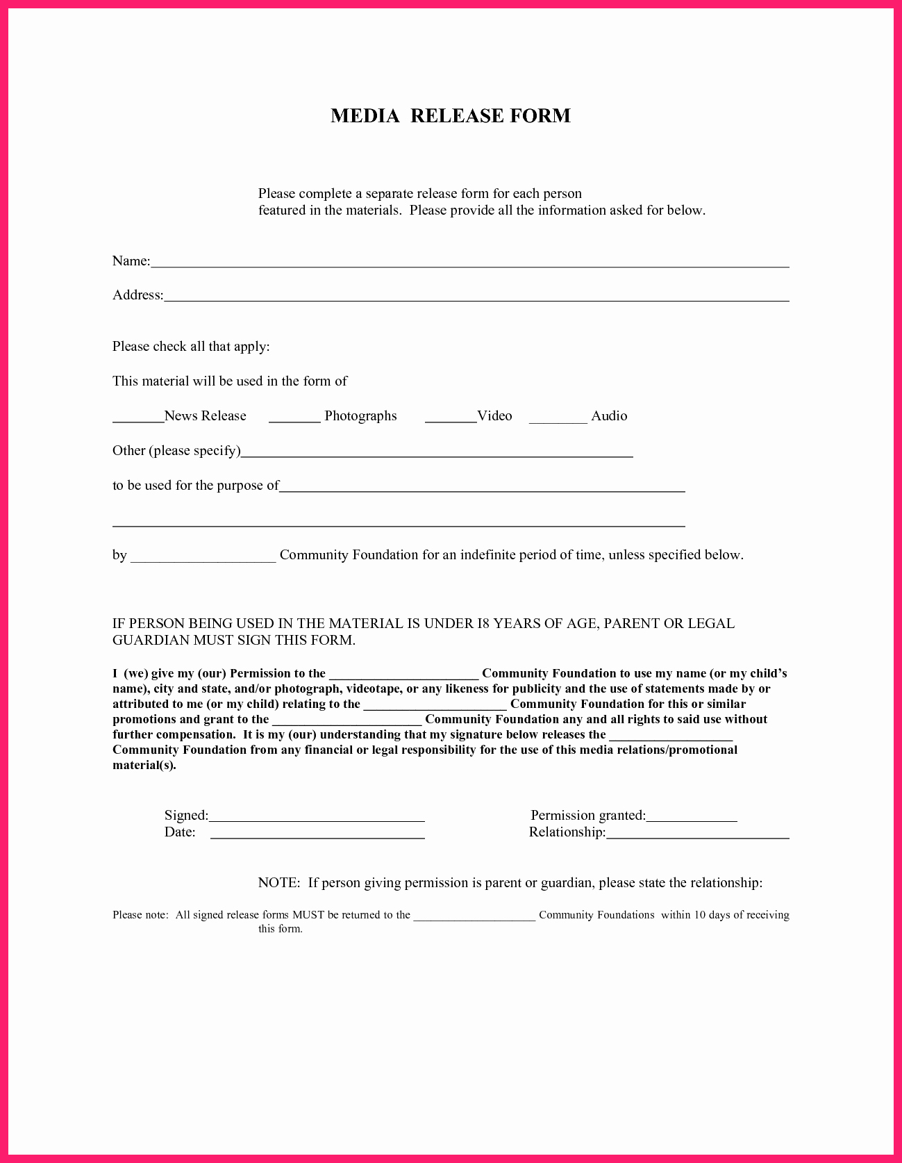 Media Release form Template New Media Release form Template