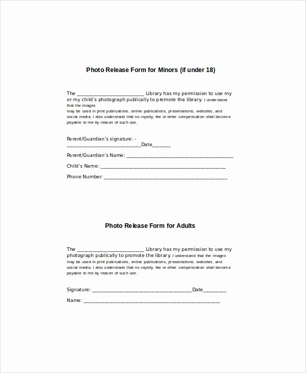 Media Release form Template Unique 8 Generic Release forms