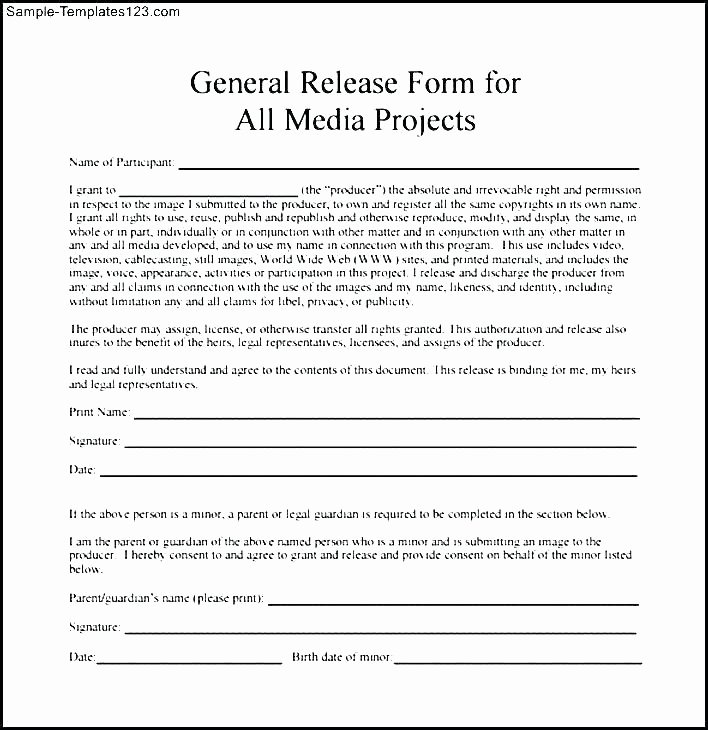 Media Release forms Template Awesome Media Consent Release form In Template Grapher