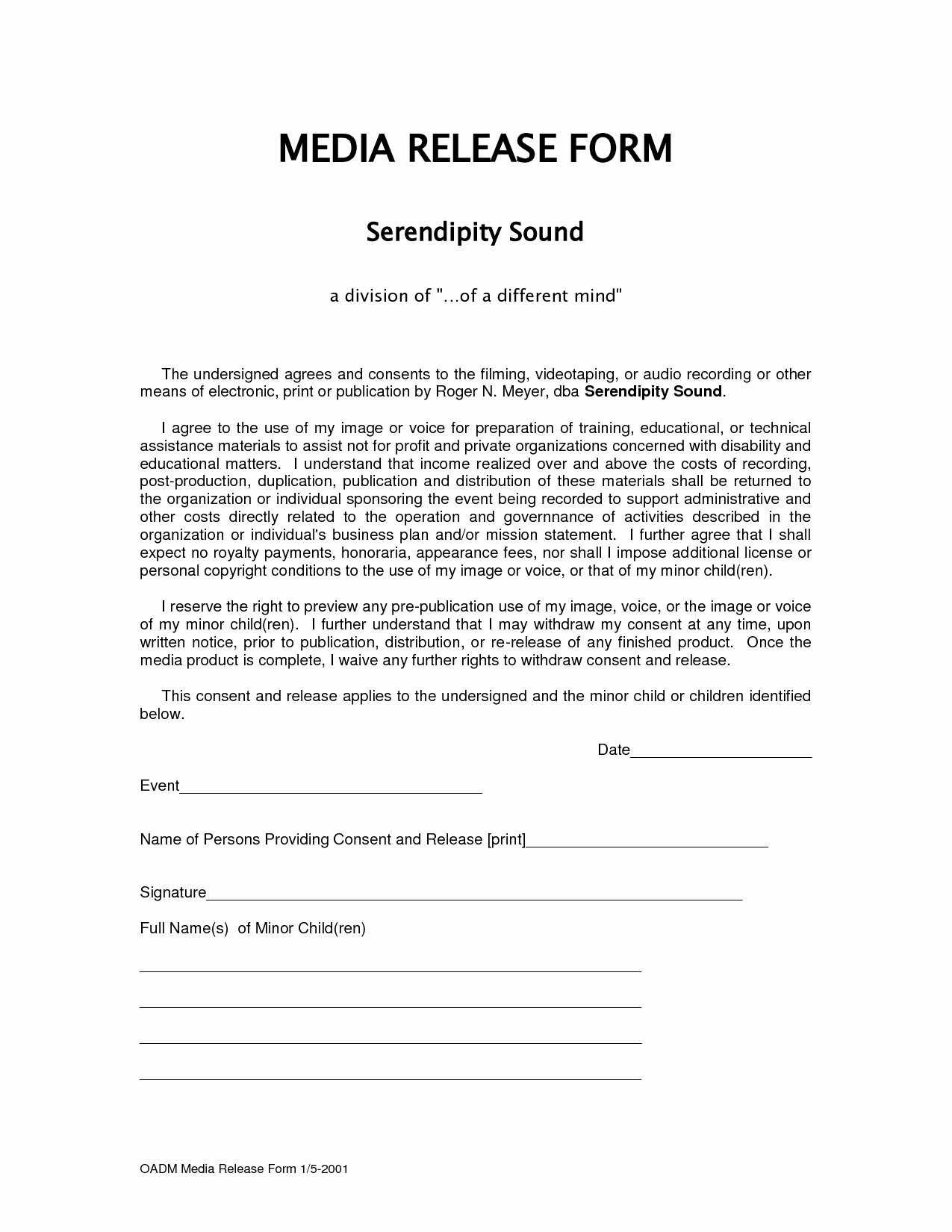 Media Release forms Template Best Of form Media Release form