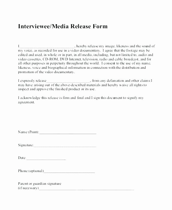 Media Release forms Template Best Of Media Consent form Template Consent form Sample 9