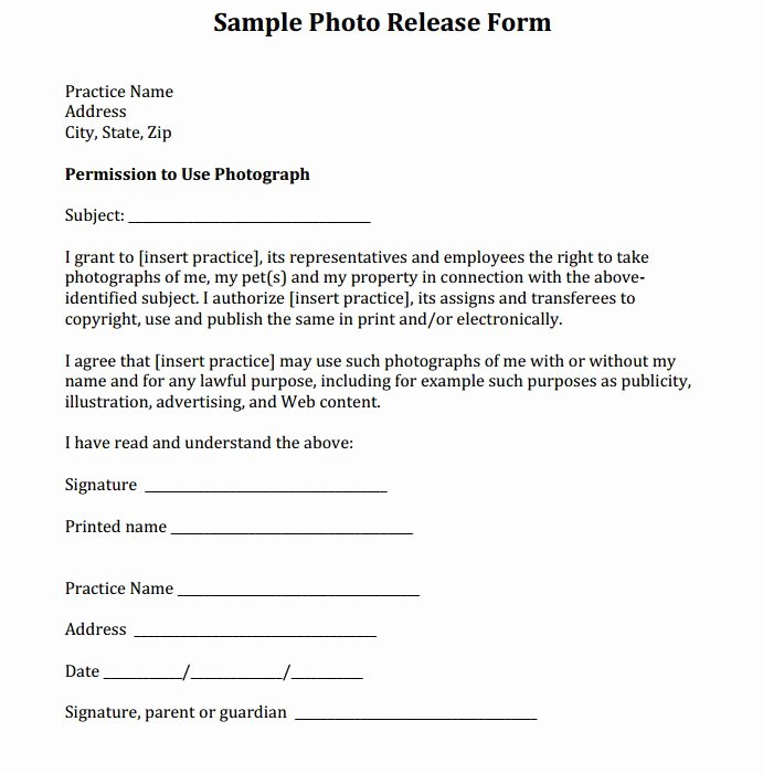 Media Release forms Template Best Of Sample Release form Courtesy Of Dr Eric Garcia and