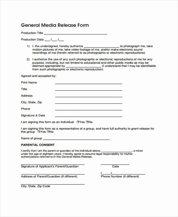 Media Release forms Template Lovely Release form Templates
