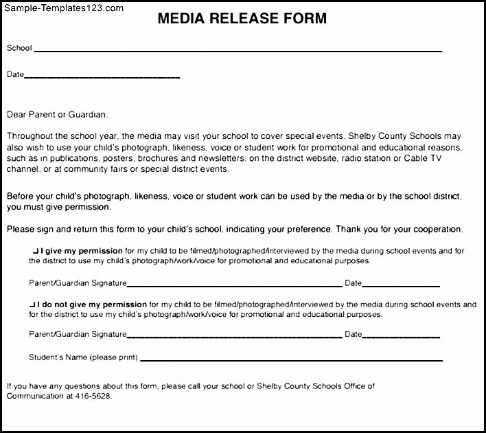 Media Release forms Template New social Media Release form