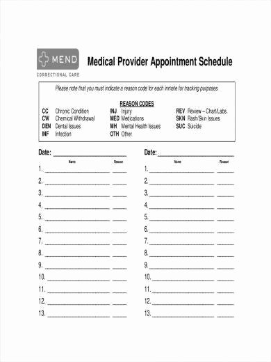 Medical Appointment Scheduling Template New 64 Schedule Samples & Templates – Pdf Doc