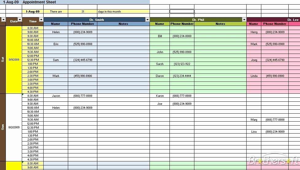 appt schedule template 370