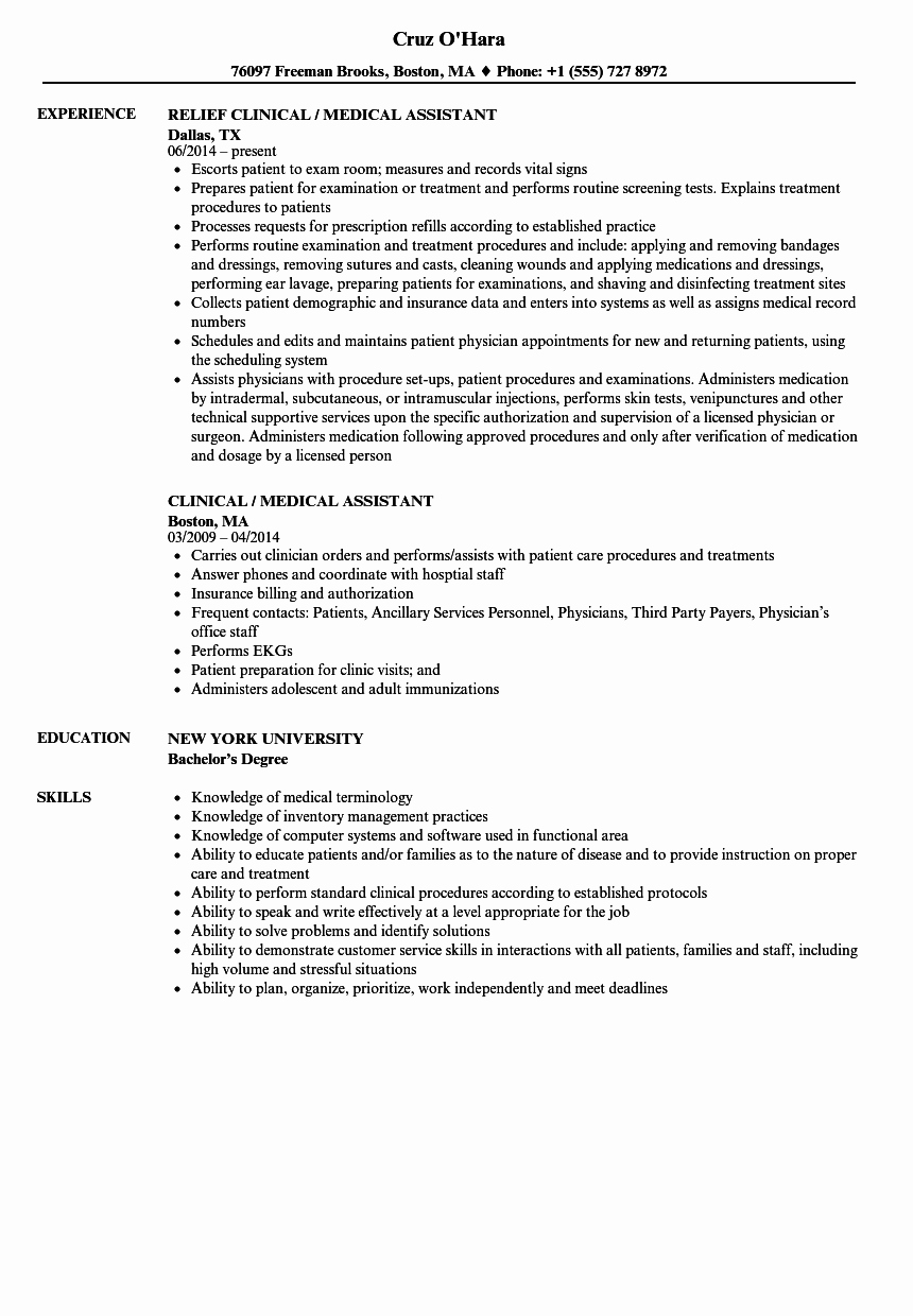 Medical assistant Resume Template Awesome Clinical Medical assistant Resume Samples