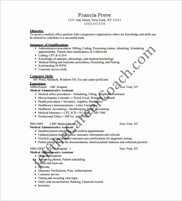 Medical assistant Resume Template Awesome Medical assistant Resume Template – 8 Free Word Excel