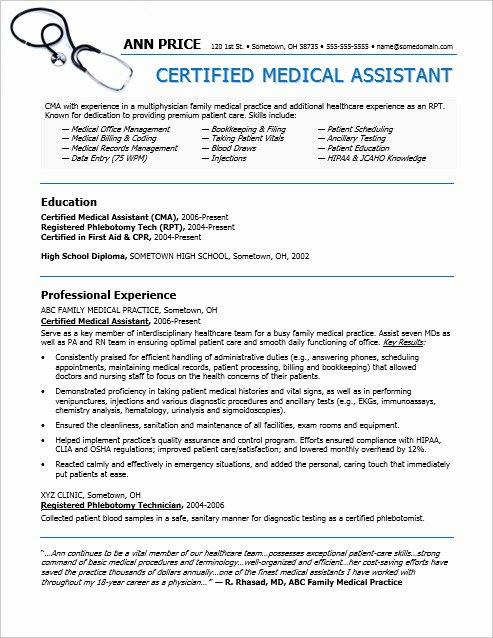 Medical assistant Resume Template Beautiful Medical assistant Resume Sample