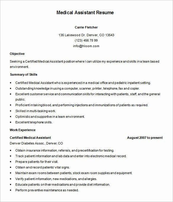 Medical assistant Resume Template Elegant 5 Medical assistant Resume Templates Doc Pdf