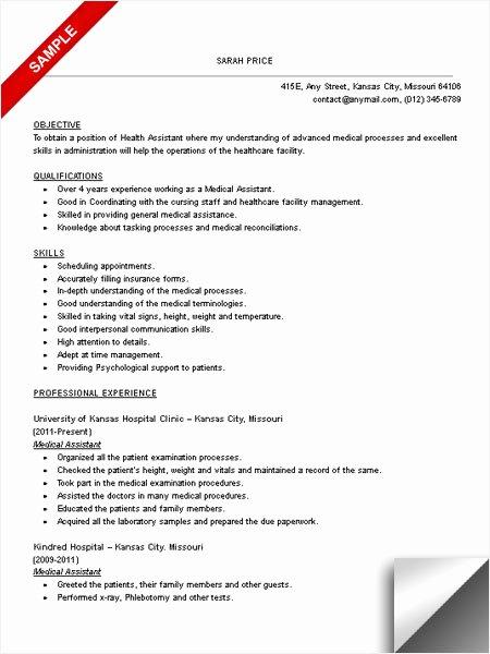 Medical assistant Resume Template Elegant Medical assistant Resume Sample Limeresumes
