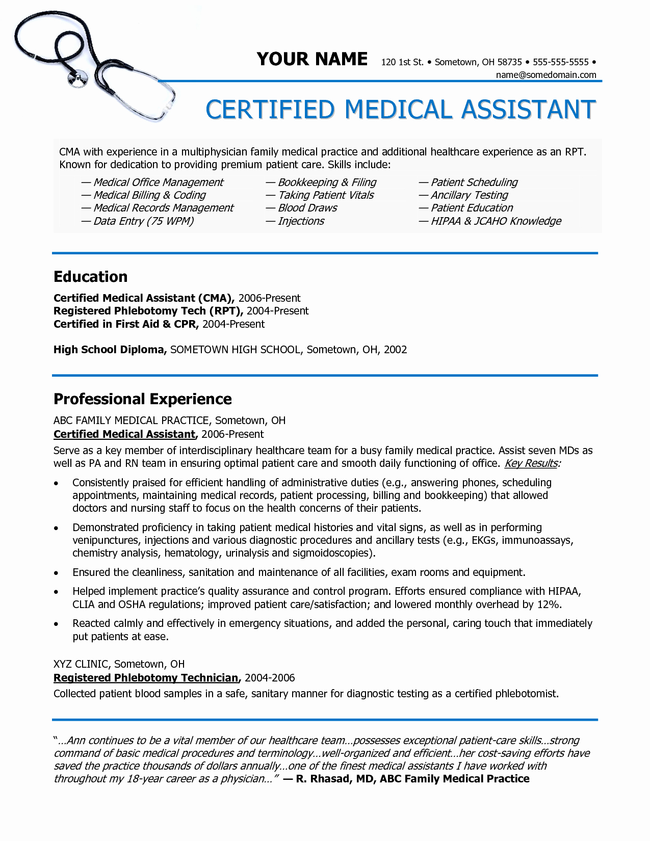 Medical assistant Resume Template Fresh Medical assistant Resume Entry Level Examples 18 Medical