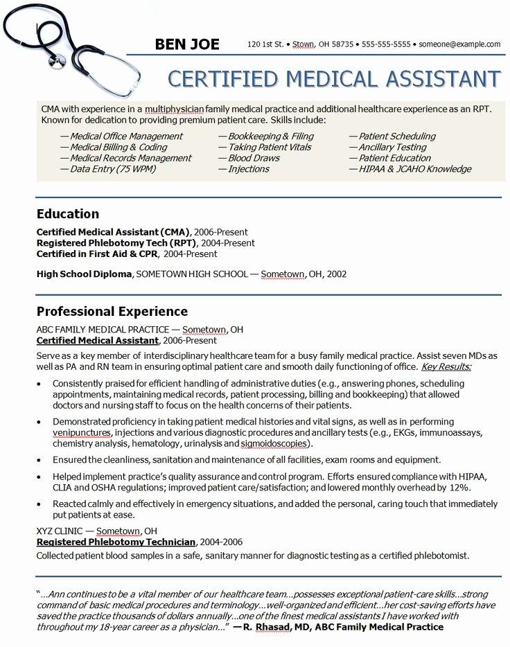 Medical assistant Resume Template Fresh Medical assistant Sample Resume