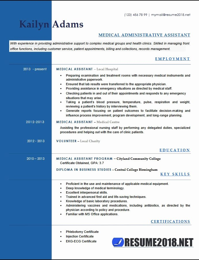 Medical assistant Resume Template Inspirational Medical assistant Resume Examples 2018 Six Templates In