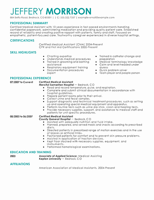 Medical assistant Resume Template Luxury Best Medical assistant Resume Example