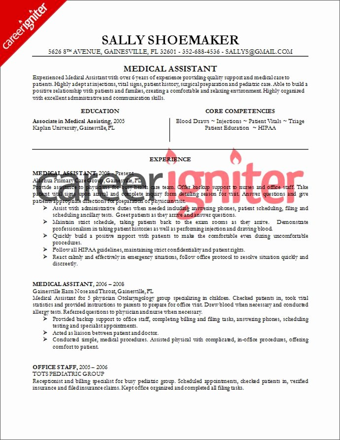 Medical assistant Resume Template Unique Medical assistant Resume Sample Resume
