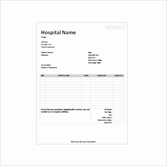 Medical Bill Template Pdf Beautiful Fake Medical Bills format Free Medical Invoice Template