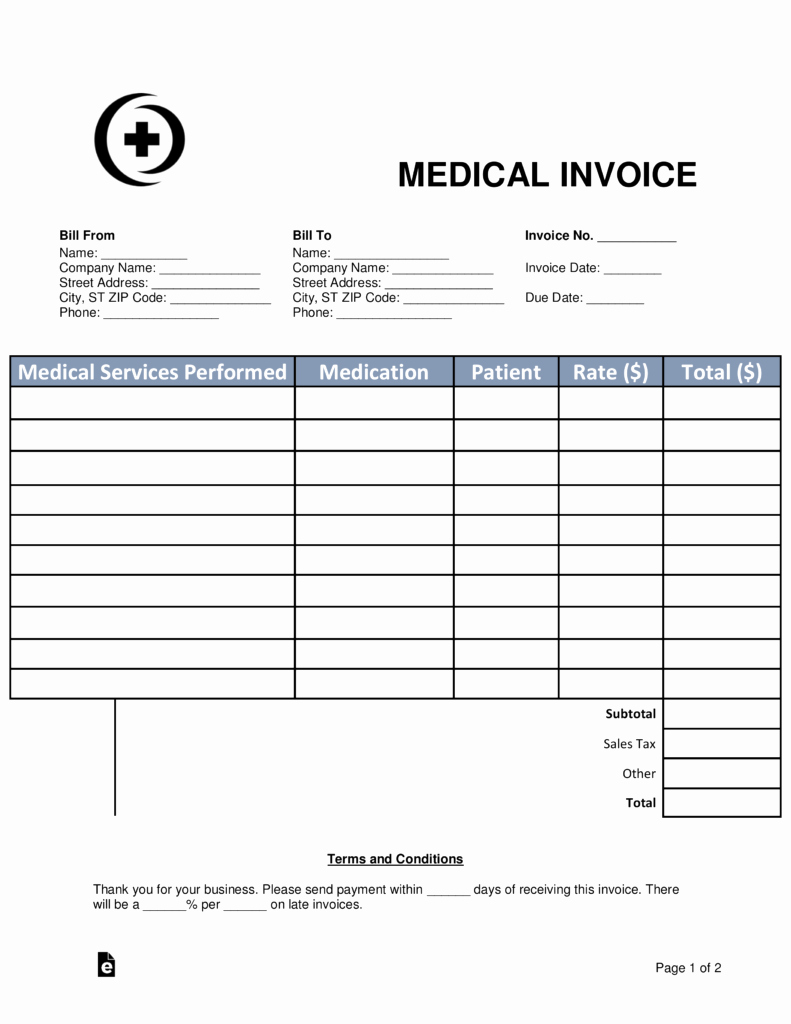 Medical Bill Template Pdf Best Of Free Medical Invoice Template Word Pdf
