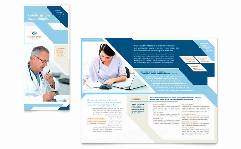Medical Brochure Template Free Elegant Medical Transcription Tri Fold Brochure Template Word