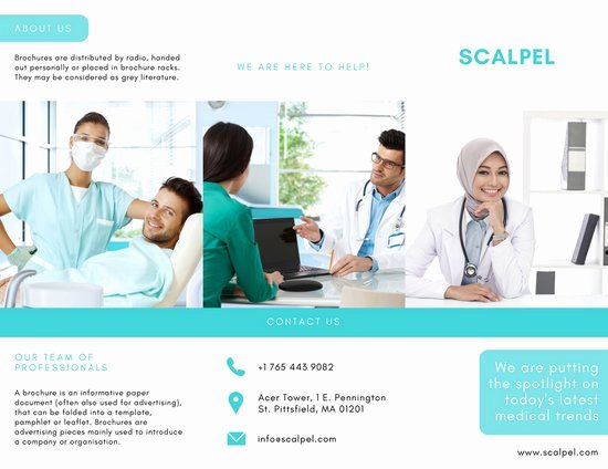 Medical Brochure Template Free Fresh Aqua and White Medical Trifold Brochure Templates by Canva