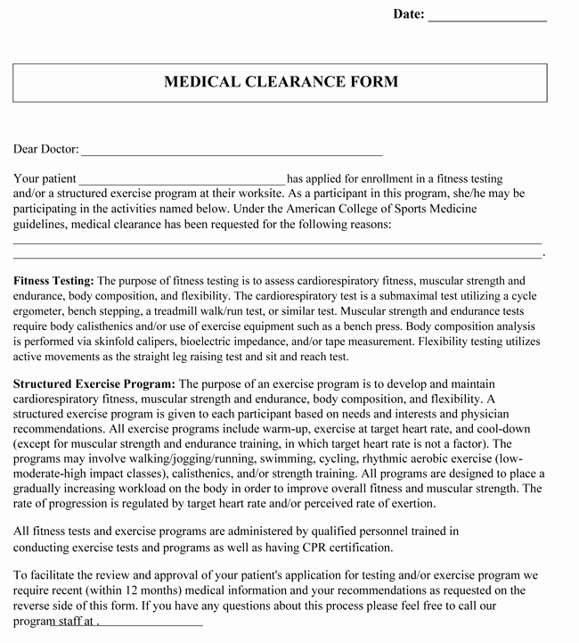 Medical Clearance Letter Template Best Of Medical Clearance form Samples 10 Best Templates and