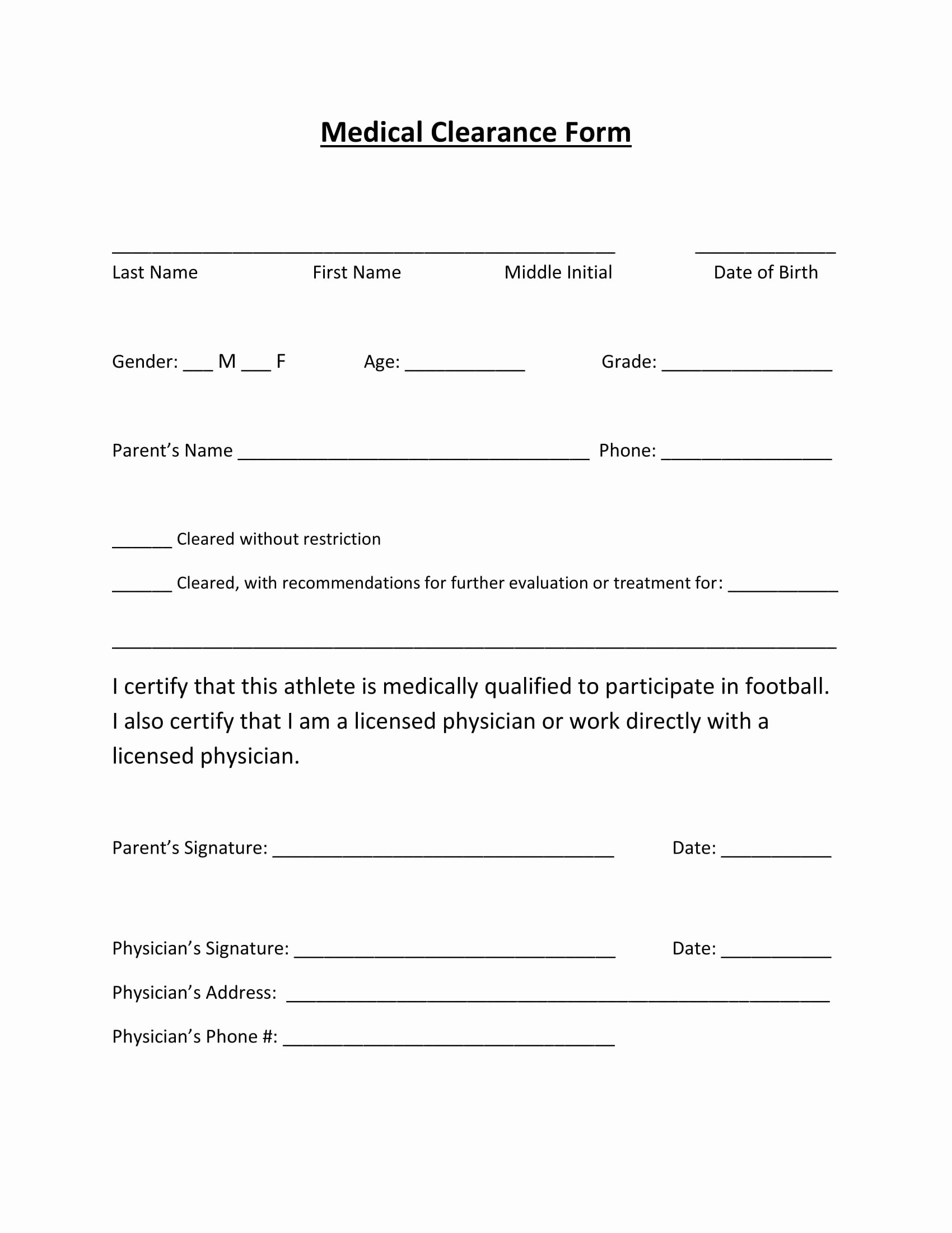 Medical Clearance Letter Template Unique 29 Medical Clearance form Examples