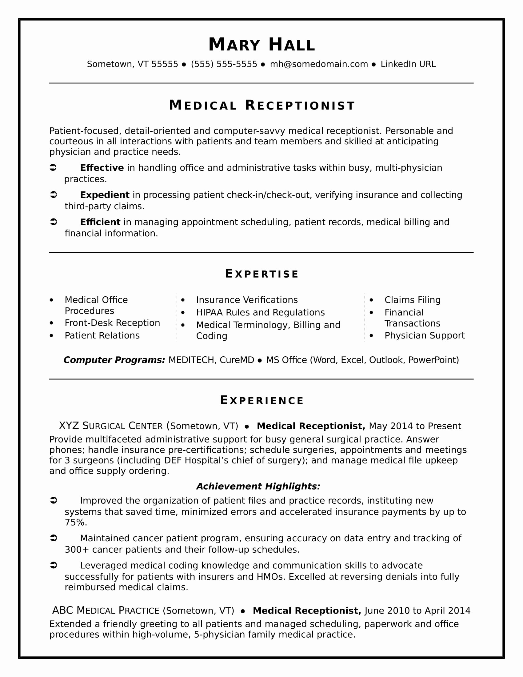 Medical Cv Template Word Beautiful Medical Receptionist Resume Sample