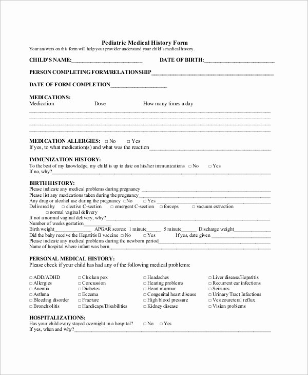 Medical History form Template Awesome 10 Sample Medical History forms