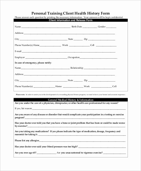 Medical History form Template Fresh 10 Sample Medical History forms