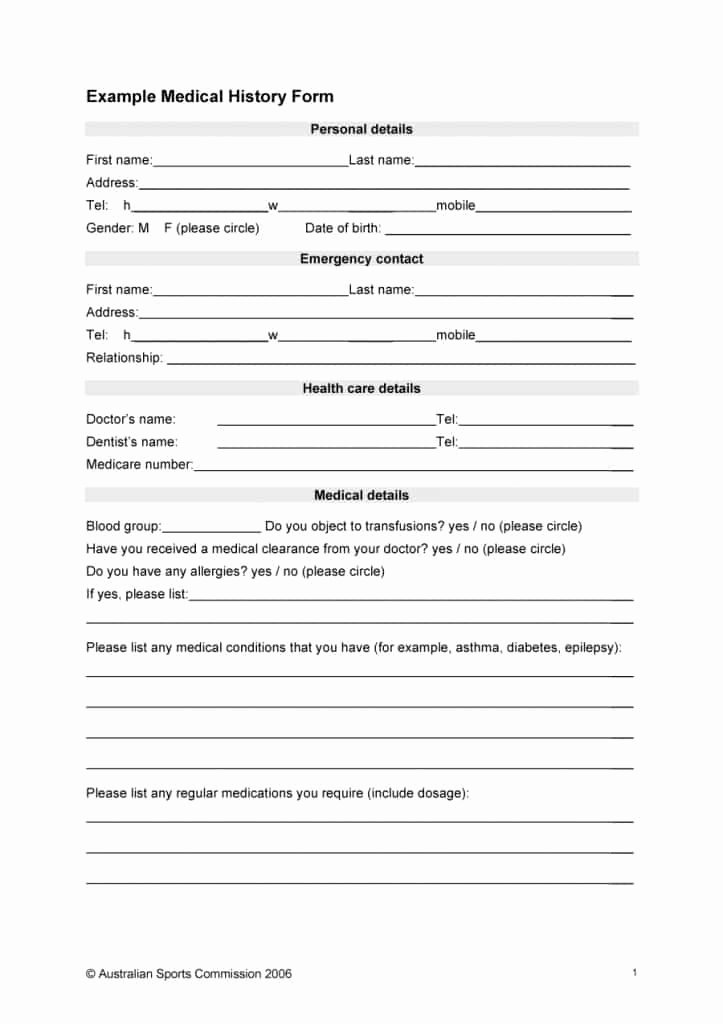 Medical History form Template Fresh 67 Medical History forms [word Pdf] Printable Templates