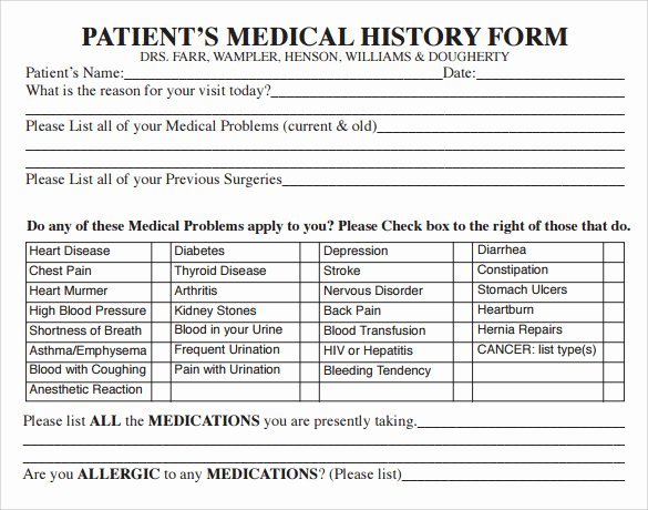 Medical History form Template Luxury 15 Medical History forms