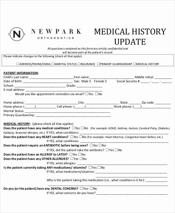 Medical History form Template Luxury 50 Sample Medical forms