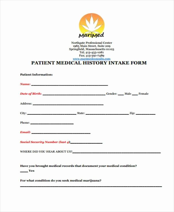 Medical Intake form Template Fresh Medical form Templates
