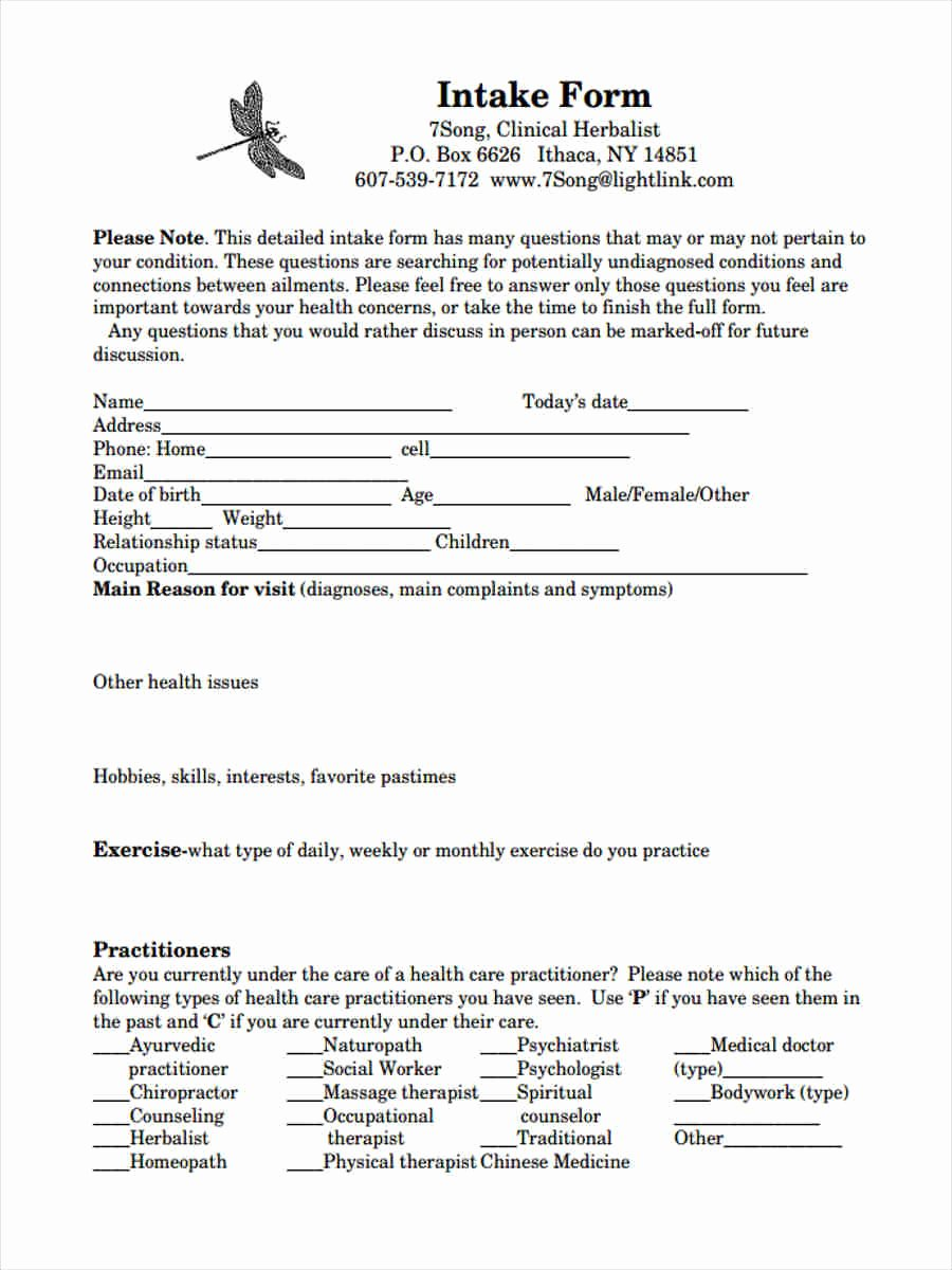 Medical Intake form Template New 8 Medical Intake forms Free Sample Example format Download