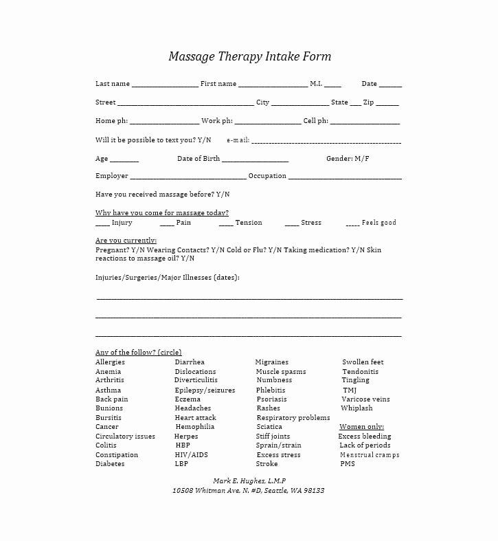 Medical Intake forms Template Awesome 59 Best Massage Intake forms for Any Client Printable