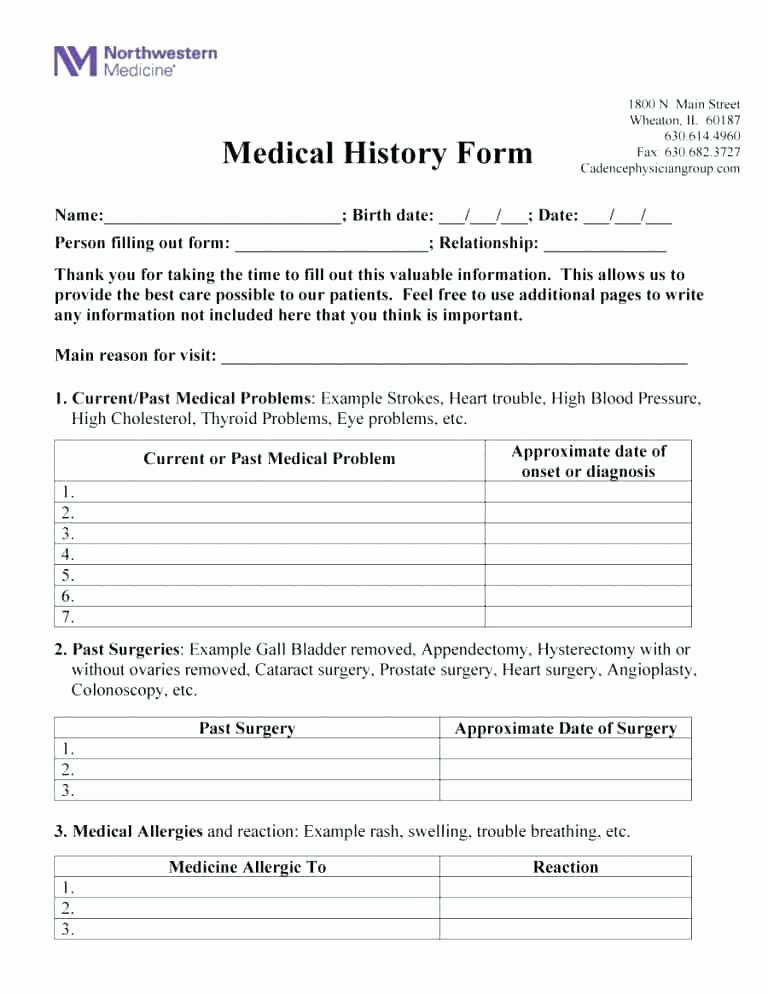 Medical Intake forms Template Best Of Hospital Discharge form Template Simple Medical History
