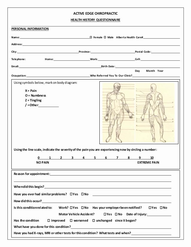 Medical Intake forms Template Best Of Medical History form Template