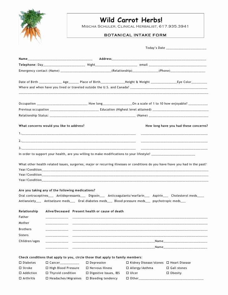 Medical Intake forms Template Fresh Intake form Template