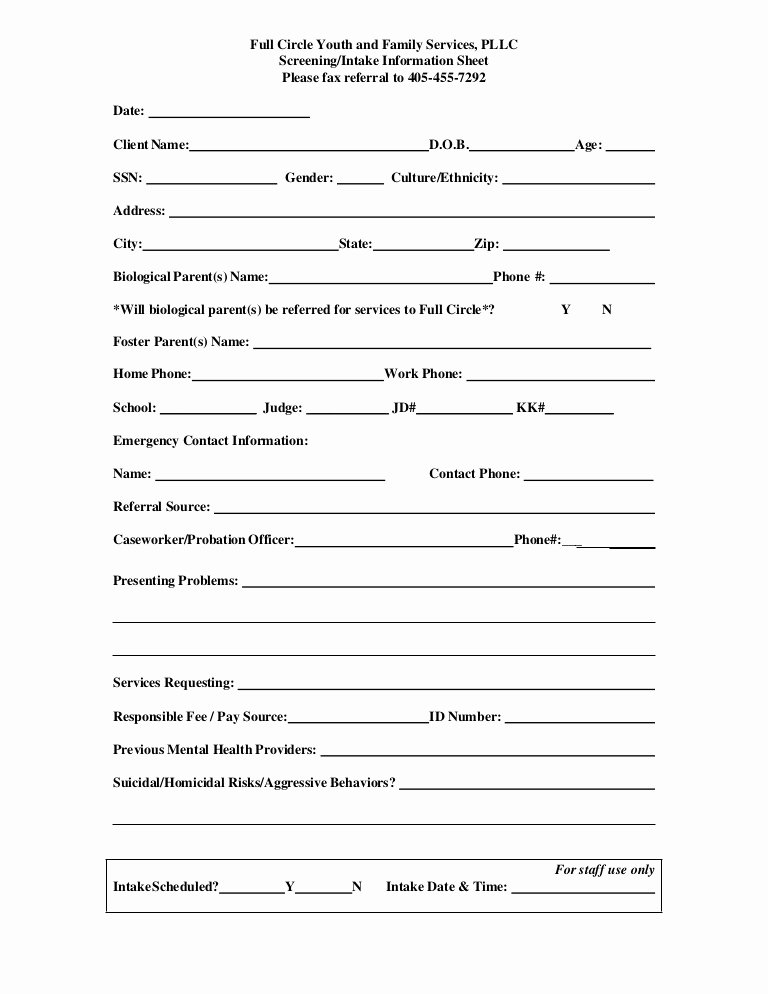 Medical Intake forms Template New Referral Screening Intake form