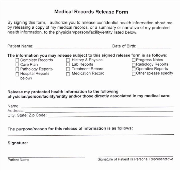 Medical Records form Template Awesome 10 Medical Records Release forms to Download