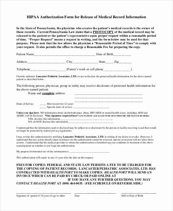 Medical Records form Template Elegant 9 Sample Medical Records Release forms