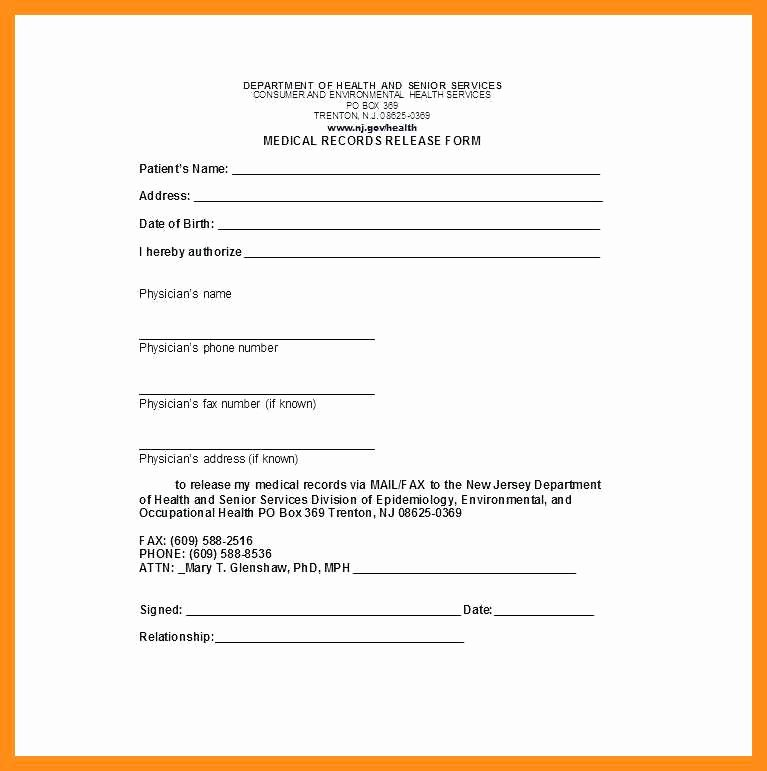 Medical Records form Template Fresh 12 13 Personal Health Records Template