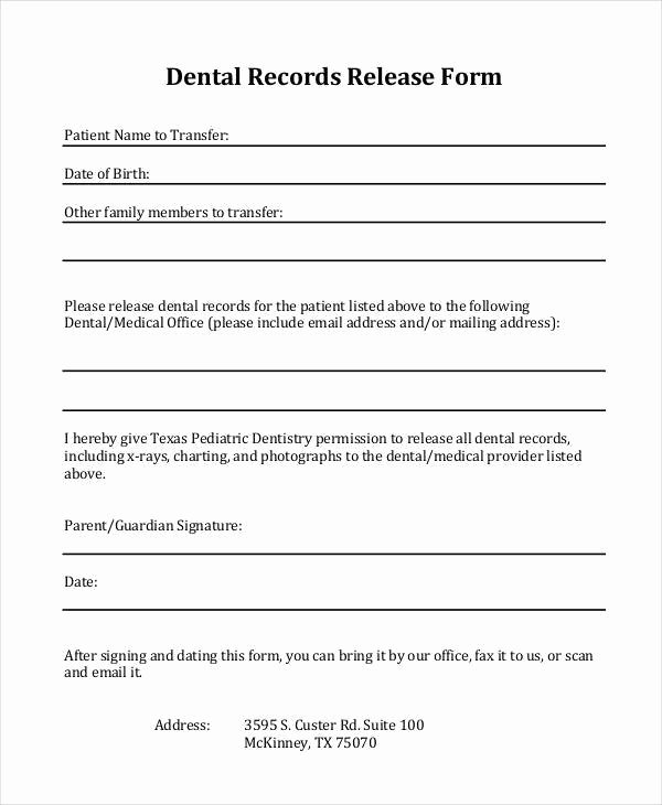 Medical Records form Template Fresh Medical Records Release form Texas Template Templates