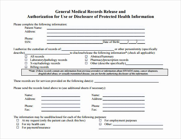 Medical Records form Template Lovely 11 Medical Records Release forms – Samples Examples