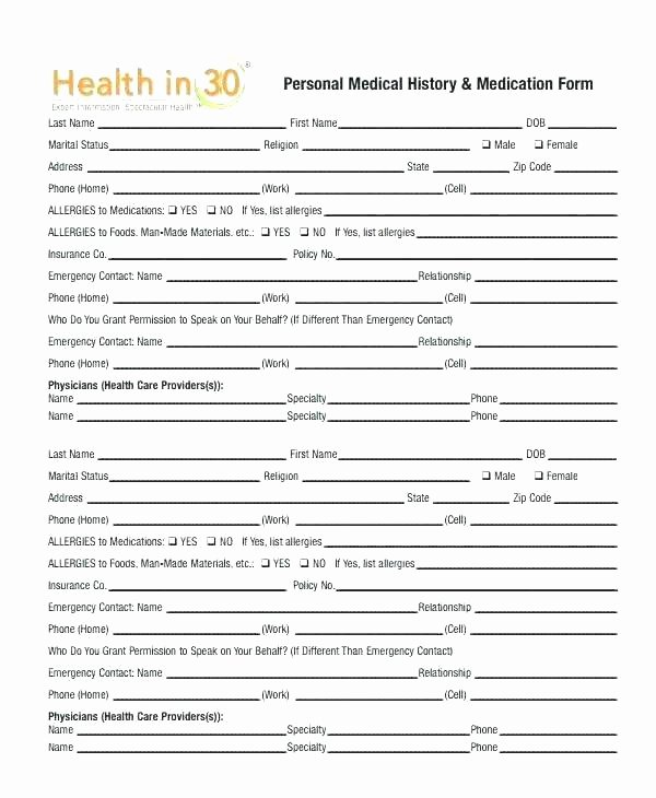 Medical Records form Template Lovely Medical Record form Template