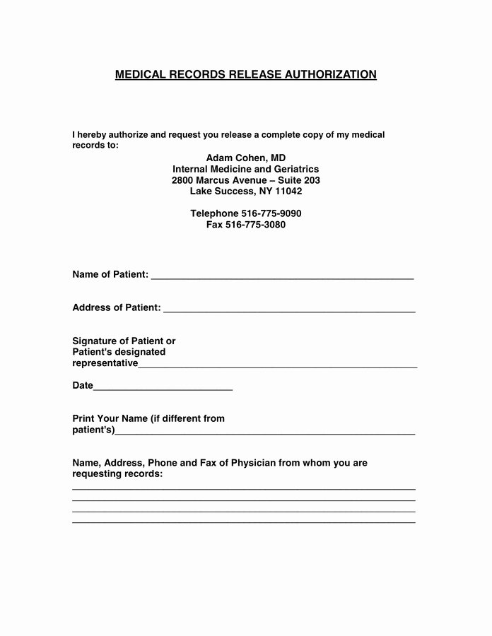 Medical Records form Template New Authorization to Release Medical Records form Template
