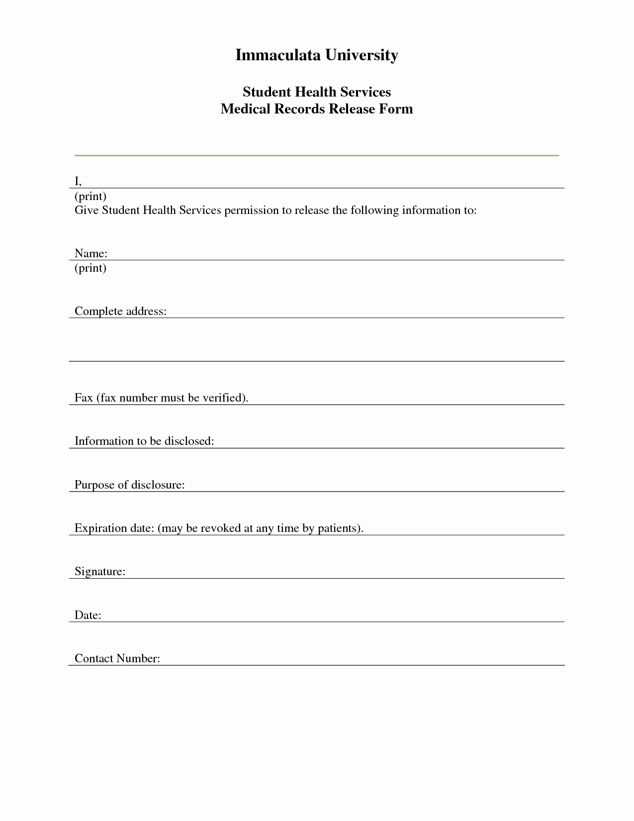 Medical Records form Template Unique 7 Best Of Free Printable Medical Release form